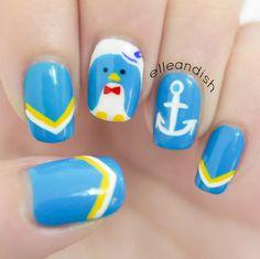 Nautical Penguin Nails Inspired by Tuxedo Sam