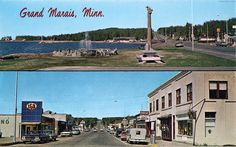 Minnesota Postcard: Split card showing downtown and the IGA store and the Bear Tree sculpture in Grand Marais, Minnesota. Toulouse, Minneapolis, Grand Marais Minnesota, Silver Bay, Tree Sculpture, Lake Superior, Paris, North Shore, Types Of Art