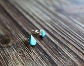 Turquoise Handmade Zuni Native American Droplet Earrings --Handcrafted Bohemian Jewelry
