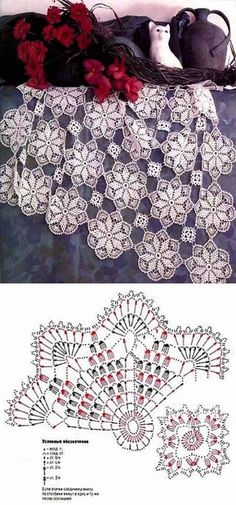 "diy_crafts- ""Scheme crochet no."", ""Motifs for napkin and tablecloth"" Crochet Blocks, Crochet Doily Patterns, Crochet Diagram, Crochet Chart, Crochet Squares, Thread Crochet, Crochet Stitches, Crochet Table Runner, Crochet Tablecloth"