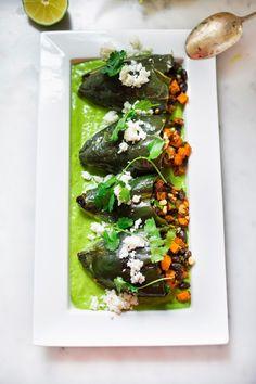 stuffed poblano peppers with avocado cilantro sauce (vegan)