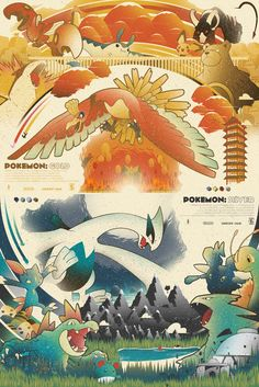 """Individual 18""""x24"""" posters of Pokemon Gold and Pokemon SilverOr one 24""""x36"""" Poster of both Gold and Sliver"""