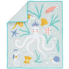 The Land of Nod | Baby Quilts: Marine Life Octopus Crib Quilts in Baby Quilts & Blankets