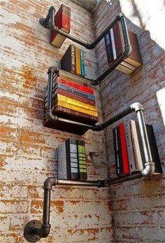 Kreatives Bücherregal aus Rohren  #books #shelves #diy #pipe