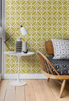Layla Faye wallpaper design featuring a small scale, floral tile design. Shown here in the golden moss colourway.