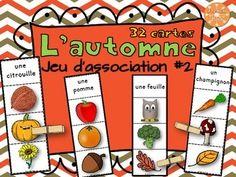 L'automne - jeu d'association #2. Les élèves lisent le mot en haut de la carte et utilisent une pince à linges pour identifier l'image qui correspond. Vocabulaire de l'automne. Total de 32 cartes.