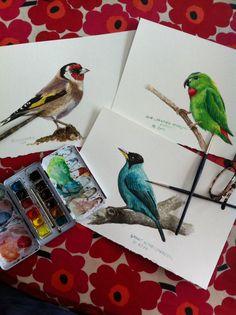 These 3 birds are flying over to Paris tomorrow. #weddinggift #goldfinch #birdwatching #parrot #birdart #bird #instaart #instabird #aviary #sketchbook #blueshineart #watercolour #winsornewton