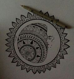 Most popular tags for this image include: mandala, moon, sun, love art