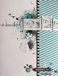 Beautiful by Maïna at @Studio_Calico Gorgeous work. Especially love how she ran the photo off the border of the page for the dramatic effect.  Lovely.