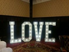 Our 5ft LED light up LOVE letters at a wedding in Kilronan Castle Roscommon Ireland. The light up letters are ideal for lighting up a corner or providing focal point to break up large function room areas as well