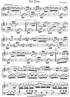 Beethoven - Fur Elise (original) sheet music for Piano - Composition Date: c.1810 Composition Info: Bagatelle in A minor. Nicknamed Fur Elise because the original manuscript is inscribed Fur Elise (For Elise). However, recent scholars have suggested that it actually read For Therese - Therese (von Brunswick) being the woman Beethoven fell in love with, and among whose possession the score was eventually discovered. Piano Sheet Music Classical, Easy Piano Sheet Music, Piano Songs, Piano Music, Für Elise Piano, Fur Elise Sheet Music, Beethoven Music, Clarinet Sheet Music, Saxophone