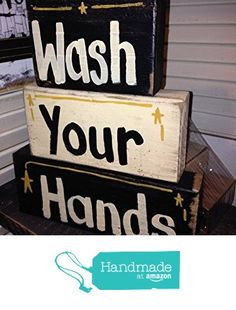 Wash Your Hands sign bathroom sink décor home business from TrimbleCrafts https://www.amazon.com/dp/B01MZY1TP6/ref=hnd_sw_r_pi_dp_QNzozbB5FSK2E #handmadeatamazon