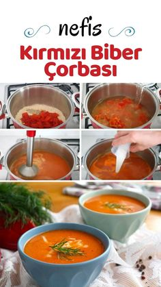 How do you make a roasted pepper soup? - World Cuisine Stuffed Pepper Soup, Stuffed Peppers, Roasted Red Pepper Soup, Wie Macht Man, Turkish Recipes, Red Peppers, Soup Recipes, Pepper Recipes, Food Pictures