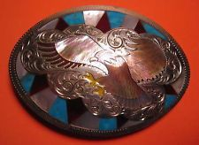 OLD Hand Made Soaring Eagle with Beautiful Inlay Belt Buckle MAKE OFFER $150.00 or Best Offer Free shipping Item image