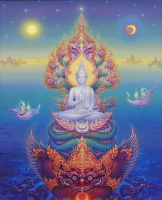 Footsteps - Jotaro's Travels: Photo Gallery - Flr Buddhist Painting Bangkok Museum Of Contemporary Art Buddha Kunst, Buddha Art, Psychedelic Art, Tibet Art, Thai Art, Mystique, Museum Of Contemporary Art, Spirited Art, Visionary Art