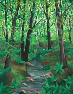 How To Paint A Forest In The Summertime Using Acrylic Paints: This great tutorial is easy to follow with many step by step photographs to help you along.
