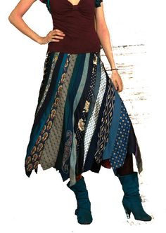 SALE Midnight Blue necktie skirt, size Small/ Medium, Solmode, Prototype. €125.00, via Etsy.