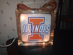 Illini lighted glass block.  Check out my custom made lighted glass blocks at my Etsy store IrwinRags!https://www.etsy.com/shop/IrwinRags