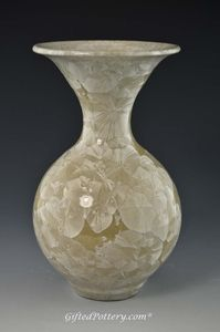 "Creamy Beige 7.25"" Handmade Crystalline Vase"