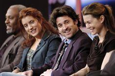 "James Pickens Jr (Richard Webber), Kate Walsh (Addison Montgomery), Patrick Dempsey (Derek ""McDreamy"" Shepherd) & Ellen Pompeo (Meredith Grey). Grey's Anatomy."