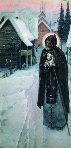 Saint Sergius' labours (right part of the triptych), 1896 Mikhail Nesterov - WikiPaintings.org