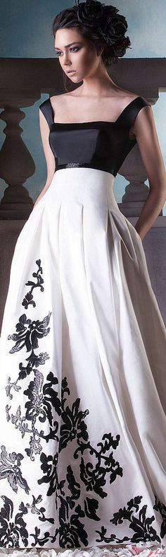 White Black Evening Gown | You can find this at => http://feedproxy.google.com/~r/amazingoutfits/~3/t4mk01wP9Co/photo.php