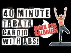 40 Minute Tabata Cardio Workout With Abs 🔥Burn 425 Calories! Tabata Cardio, Tabata Training, Hiit Workout At Home, Abs Workout Video, Abs Workout Routines, Workout Plans, Fitness Workouts, Fitness Tips, Workouts Hiit