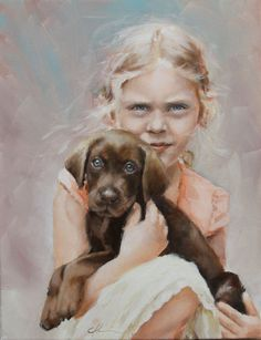 'Original Painting of Little Blond Girl, Wispy Hair Holding a Chocolate, Brown Labrador Puppy by Clair Hartmann.