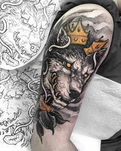 Creative Crown Wolf Arm Tattoo Ideas - Best Arm Tattoos For Men: Cool Arm Tattoo Designs and Ideas For Guys - Badass Upper, Lower, Sleeve, and Back of Arm Tattoos Wolf Tattoos, Tattoos Arm Mann, Elephant Tattoos, Feather Tattoos, Animal Tattoos, Hand Tattoos, Tattoo Arm, Star Tattoos, Tatoos