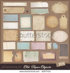 stock vector : digital scrapbooking kit: old paper - different aged paper objects for your layouts