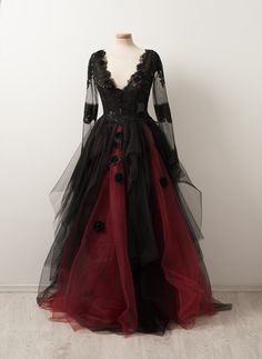 long prom dresses Two Piece Zippers Indulge yourself with sour cherry syrup, licorice tulle and dark chocolate embroidery Best served in a Victorian glasshouse with a novel in your hand gothicwear Prom Dresses Long With Sleeves, A Line Prom Dresses, Tulle Prom Dress, Dress Long, Bridesmaid Dresses, Emo Dresses, Goth Wedding Dresses, Victorian Style Dresses, Gothic Formal Dresses