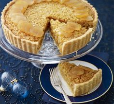 Stem ginger & treacle tart - James Martin gives the traditional treacle tart a Christmassy twist Tart Recipes, Baking Recipes, Sweet Recipes, Pudding Recipes, Yummy Recipes, Xmas Food, Christmas Desserts, Christmas Cakes, Christmas Goodies