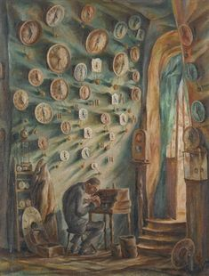 """Der Uhrmacher by Friedrich Winckler-Tannenberg (via Artnet auction listing).  This is my grandfather's painting """"The Watchmaker"""" - 1924 - German Expressionism"""