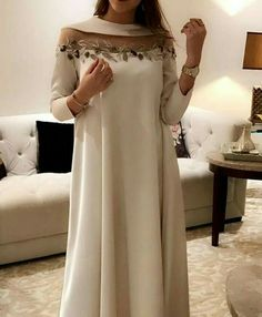 Cute A-line white dress - - Wedding Lengha - Wedding - New Ideas Abaya Fashion, Muslim Fashion, Modest Fashion, Indian Fashion, Fashion Outfits, Fashion Fashion, African Fashion Dresses, African Dress, Abaya Mode