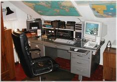 Ham Radio Shack. Yep, I grew up with my parents having one of these rooms for their Amateur radio equipment. (Ham Radio)