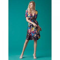 ダイアンフォンファステンバーグ| ラップワンピース Short Sleeve Flared Wrap Dress(Bournier Black)【受発注商品】