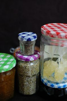 Fabulous Glass Bonne Maman jars with metal gingham covers, in a variety of colours and sizes!