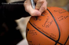 This is a cute idea for a basketball party instead of having a guest book!