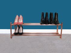 Show off your gorgeous footwear on this copper rack, with space for heels, flats and every shoe in between. - Measurements This rose gold rail measures 95cm wide, 30cm deep and 32cm high. Each shoe rack is made to order, so if you require a longer/shorter rail, please send us a message. Your shoe rack is shipped in two sections and can be put together in seconds with no tools required. Over time copper can lose its shine, so we polish all our products before shipping and include tips...