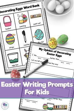 Easter writing prompts for kids -  This is  a great way to get kids engaged in writing activities! Students will love this opinion writing activity where they decorate Easter eggs and give their opinion! #easter #opinionwriting #easteractivitiesforkids #easterwritingprompts