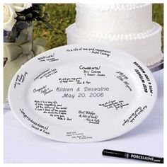 Cathys Concepts 2 Piece Personalized Guest Book Platter and Easel Set in White - - Decorative Plates - Decorative Accents - Decor Personalized Wedding Guest Book, Wedding Gifts For Guests, Wedding Ideas, Wedding Stuff, Dream Wedding, Wedding Inspiration, Wedding Plates, Bride And Groom Gifts, Guest Book Alternatives