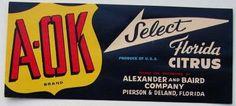 3X7 A-OK Vintage Pierson & Deland Florida Citrus Crate Label