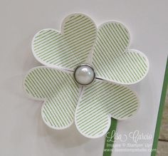 Close up image of a shamrock created using Stampin' Up!'s Sweet & Sassy heart shaped dies and Heart Happiness stamp set.