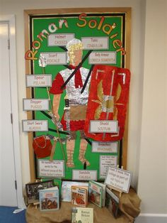 A dramatic display, which gives information about what a Roman solider might wear. Ks2 Classroom, History Classroom, Classroom Displays Ks2, Primary School Displays, Classroom Teacher, Teaching Latin, Teaching History, Teaching Ideas, Ancient Rome