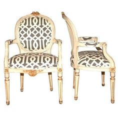 chairs upholstered in imperial trellis