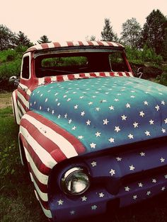 Red, white, and blue truck