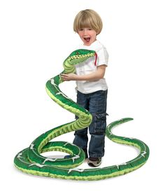 Meet the only boa constrictor that likes to be hugged back! Over 14 feet long and every inch a cuddler, this coiled snake features realistic markings and size, and a soft plush exterior that kids will love to ssssnuggle. Durably constructed of high-quality materials, this extra-long plush pet is surface-washable.