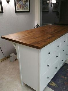 Kitchen island hack from IKEA HEMNES chesy and KARLBY countertop
