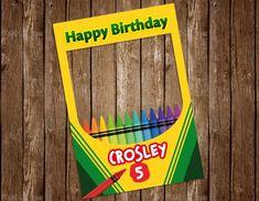 Crayon Party Frame, Crayon Birthday Party, Crayon Photo Booth Frame, Birthday Party frame birthday p Crayon Birthday Parties, Art Birthday, Birthday Board, Birthday Nails, Happy Birthday, Fun Party Themes, Birthday Party Themes, Party Ideas, Birthday Ideas