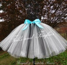 White and Black Tutu with Satin Bow color of your choice....in Baby to Adult Sizes